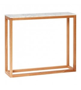 TABLE W/WOOD FRAME  WOOD/MARBLE  90X25