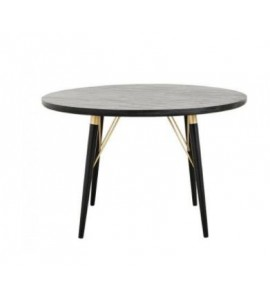 SMALL OVAL SIDE TABLE IN GOLD AND BLACK