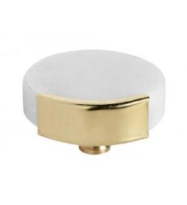 KNOB/HOOK WHITE MARBLE CIRCLE IN BRASS