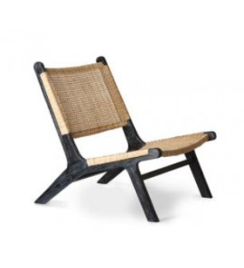 WEBBING LOUNGE CHAIR IN BLACK AND NATURAL