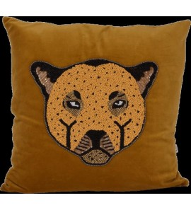 VELVET CUSHION LEOPARD