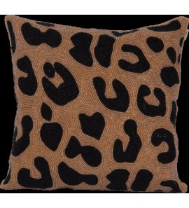SMALL BEADS LEOPARD CUSHION PRINT ALL OVER