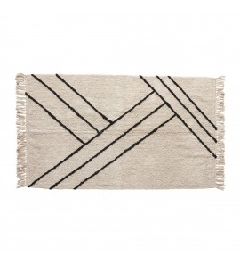 RUG  COTTON  WHITE/BLACK 96X180CM