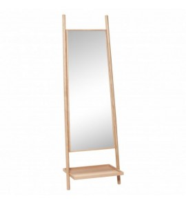 FLOOR MIRROR W/SHELF OAK
