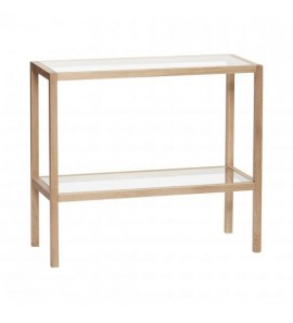 SHELF W 2 SHELVES  OAK AND GLASS