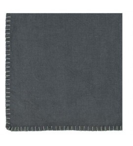 TABLECLOTH WITH STITCH 100% LINEN BLACK