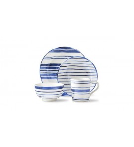 COTE D` AZUR STRIPE 4PCS PLACE SET BLUE W